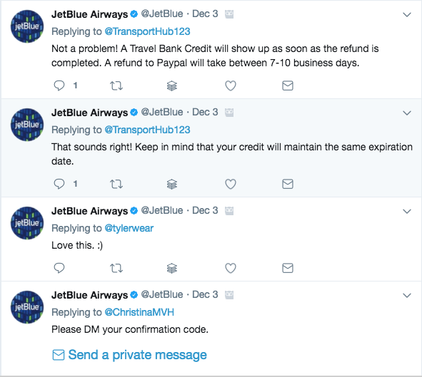 JetBlue Twitter page